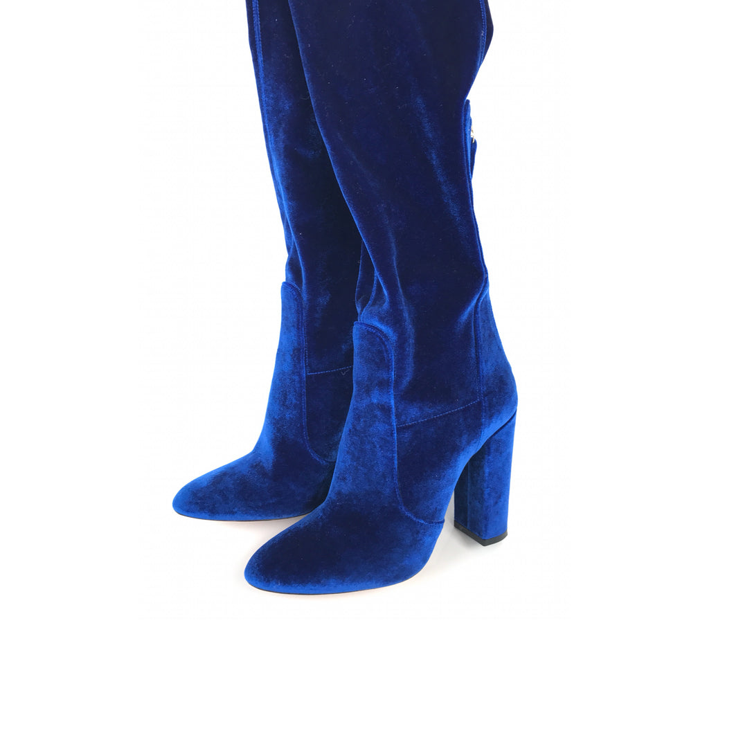 Aquazzura Thigh High Electric Blue Velvet Over-the-Knee Boots