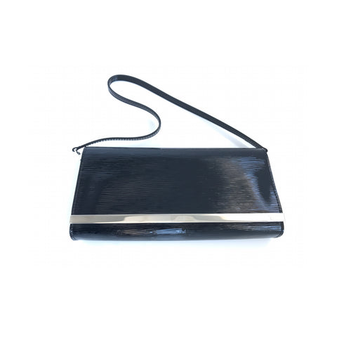 Louis Vuitton Sevigne Epi Vernis Patent Leather Clutch Black