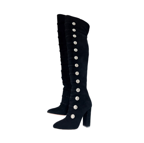 Aquazzura Rasputine Over the Knee Suede Thigh-High Boots