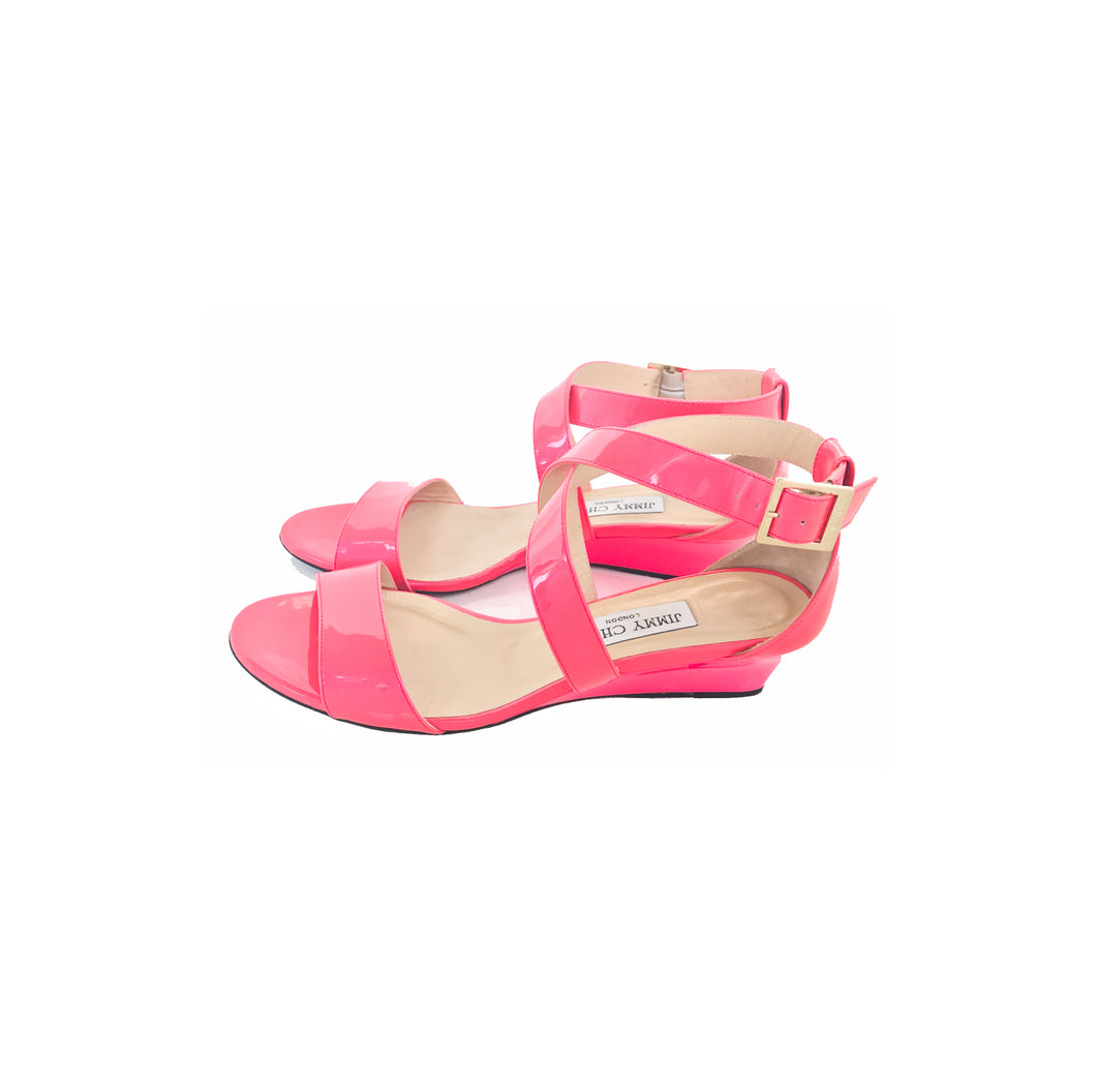 Chiara Crisscross Patent Leather Wedge Sandals