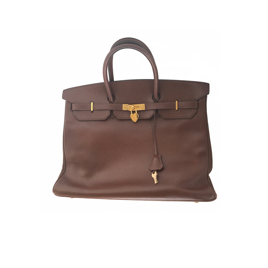 Hermes Birkin Bag 40cm Brown Fjord Leather