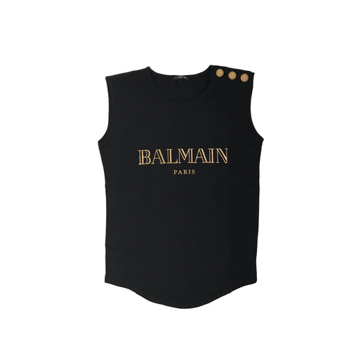 Balmain Logo Sleeveless T-Shirt