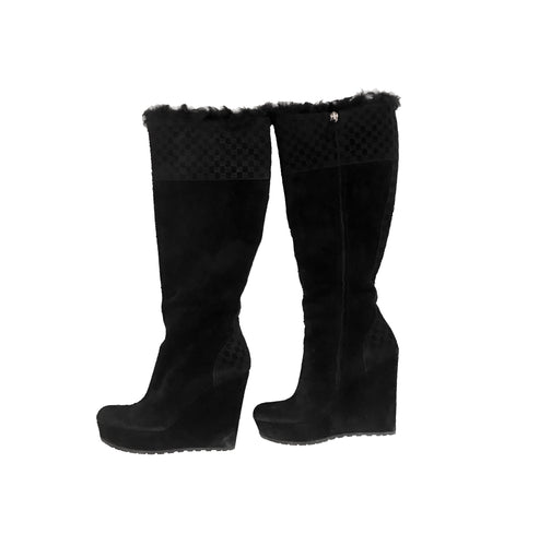 Gucci Courtney Suede Shearling Microguccisima Tall Wedge Boots