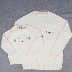 Mother and Daughter Clothes White Eyelash Sweaters - Head Turner Fashion