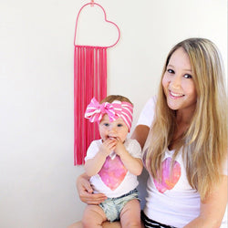 Mommy and Me Heart Print Short sleeved T-shirt - Head Turner Fashion