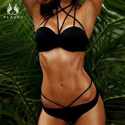 Halter Strappy Mesh Micro Thong Bikini - Head Turner Fashion