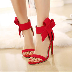 bowknot decoration open toe high heels - Head Turner Fashion