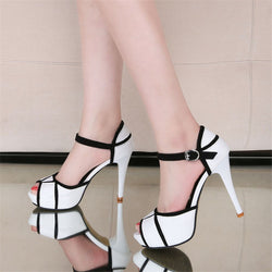 open toe buckle high heel shoe - Head Turner Fashion