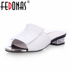 FEDONAS  Summer Square Heels Genuine Leather Sandal - Head Turner Fashion