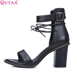 Square High Heel Summer Shoes - Head Turner Fashion