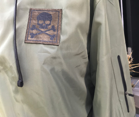 MIDNIGHT BOMBER JACKET OLIVE GREEN - Skull Patch - Flag Patch - Zipper Sleeve - Removable Hood
