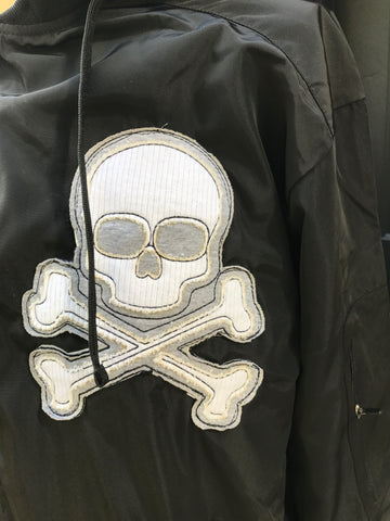 MIDNIGHT BOMBER JACKET BLACK - Skull Patch - Zipper Sleeve - Removable Hood