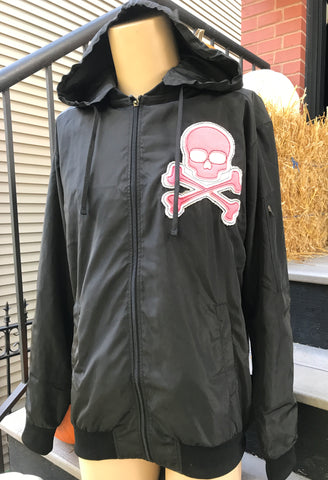 MIDNIGHT BOMBER JACKET PINK - Skull Patch - Zipper Sleeve - Removable Hood