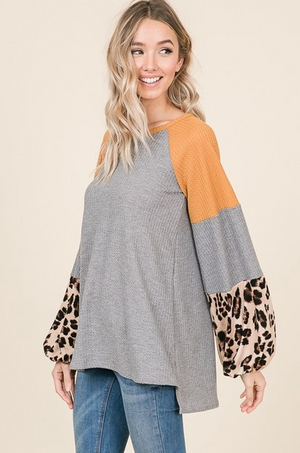 Leopard Flannel Top