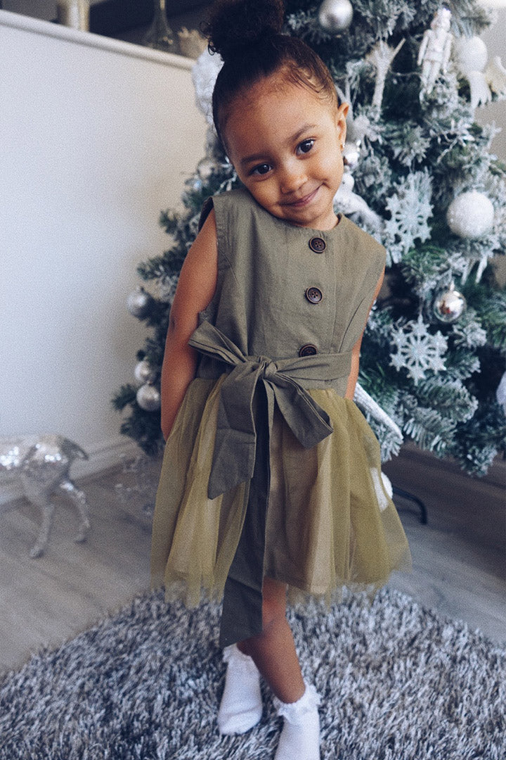 Girls Khaki Occasion Dress
