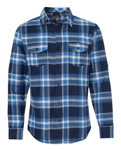 Blue & White Long Sleeve Flannel Shirt