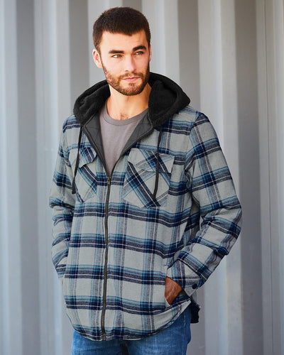 Quilted Flannel Full-Zip Hooded Jacket - 8620