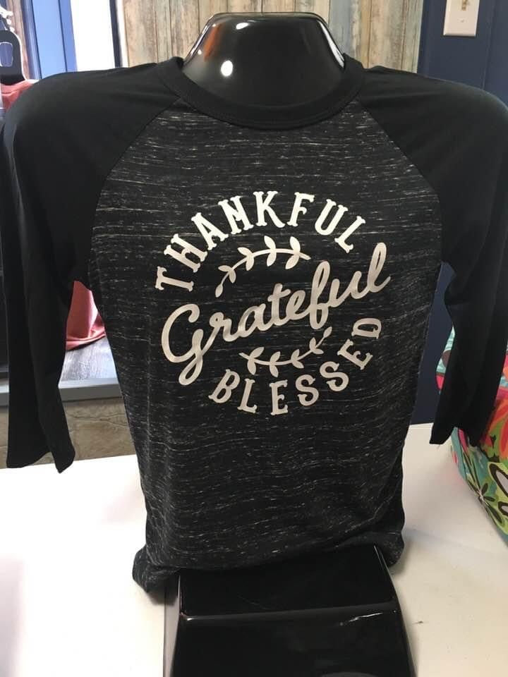 Thankful, Grateful, Blessed Baseball Style Tshirt