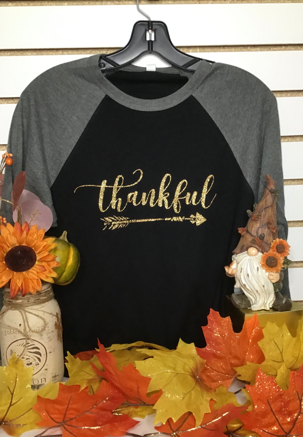 Thankful Baseball Tee - Glitter Print