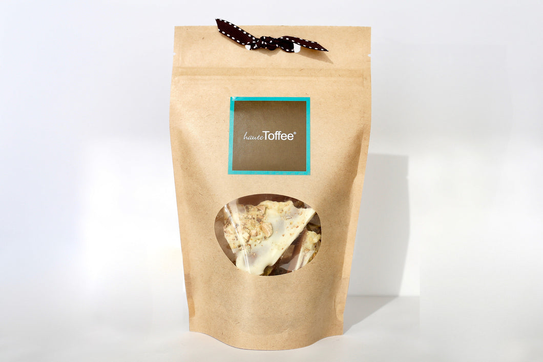 3.5 Oz. Grab & Go Bag of English toffee - White Chocolate/Pistachio Flavor