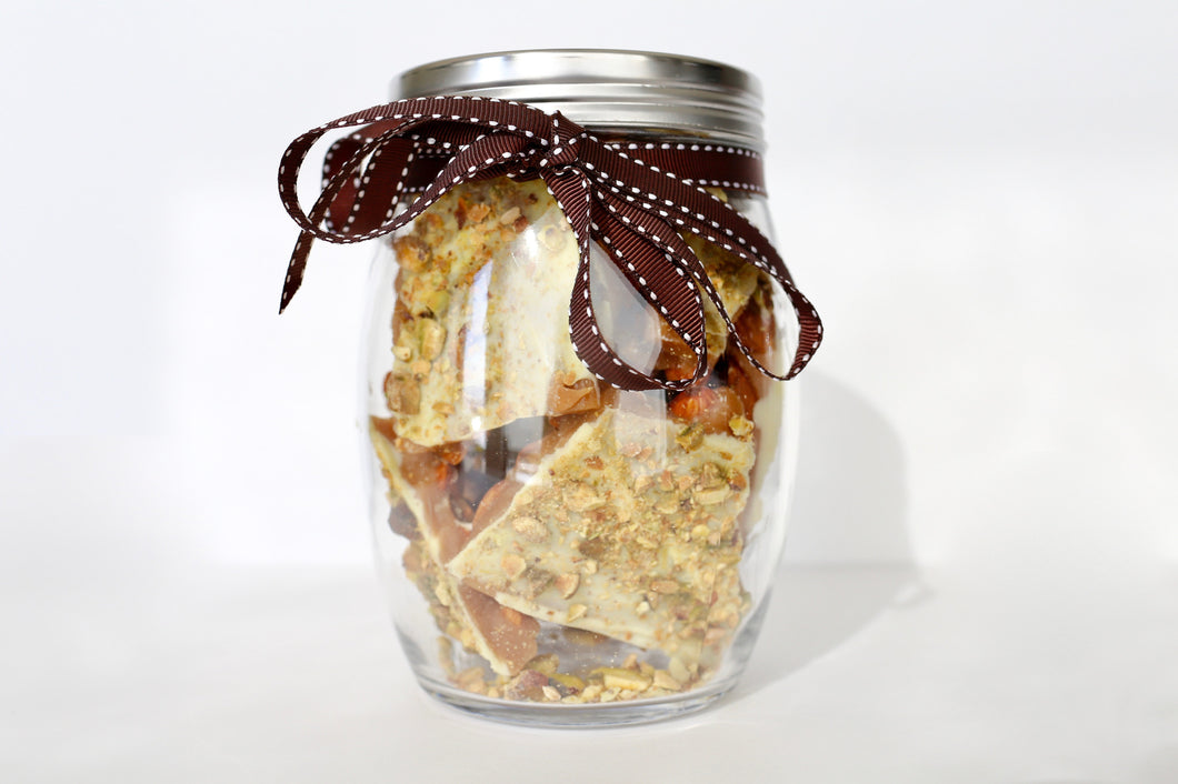1 LB. Glass Jar of English toffee - White Chocolate/Pistachio Flavor