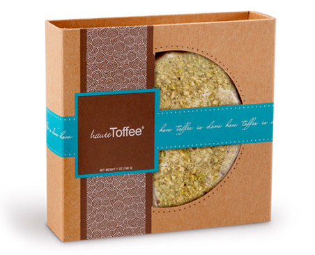 7 oz. Box of English toffee - White Chocolate/Pistachio Flavor