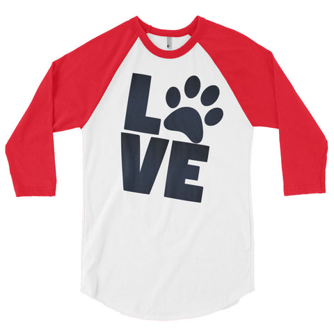 Doggie Love 3/4 sleeve baseball raglan shirt