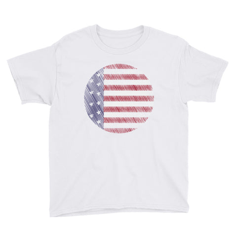 America the Beautiful Unisex Youth Short Sleeve T-Shirt White