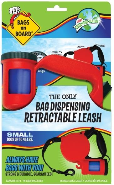 BAGS ON BOARD SMALL RETRACTABLE LEASH - RED