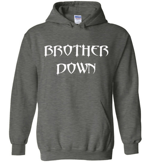 Pull Over Hoodie - White Brother Down Name Full Chest