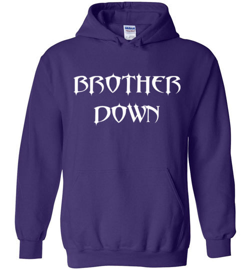 Brother Down Name Stacked Pull Over Hoodie - White Graphics
