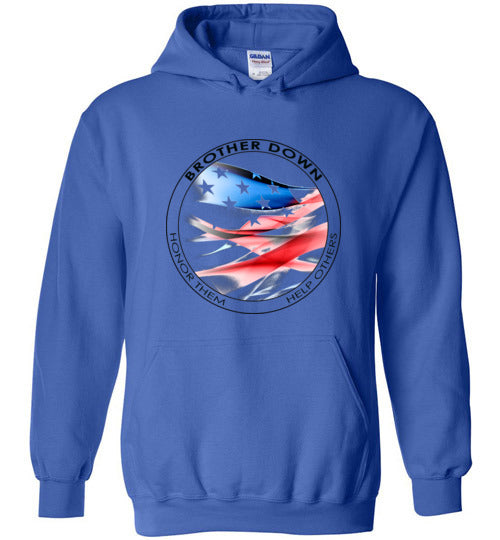 Brother Down Flag Pull Over Hoodie - Multi Color Graphics