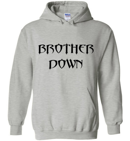 Brother Down Name Stacked Pull Over Hoodie - Black Graphics
