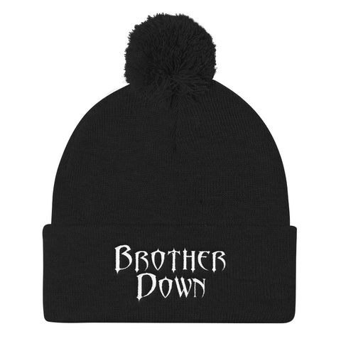 Brother Down Pom Knit Beanie - White Embroidery