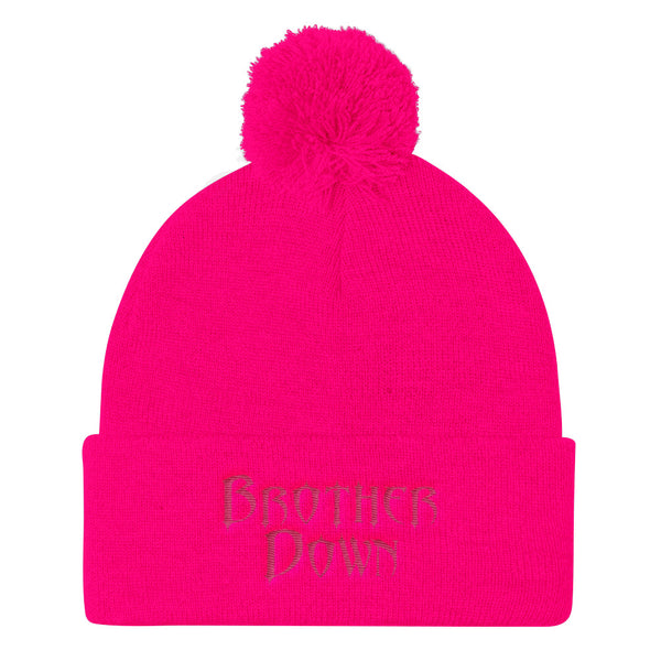 Brother Down Pom Knit Beanie - Pink Embroidery