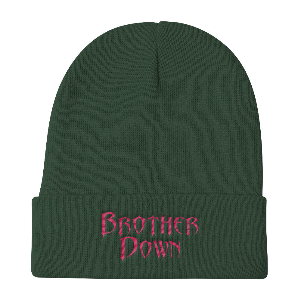 Brother Down Knit Beanie - Pink Embroidery