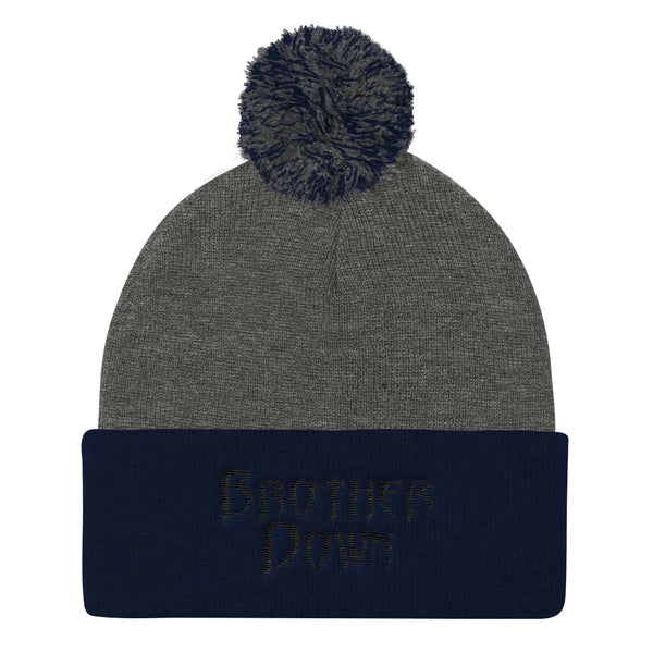 Brother Down Pom Knit Beanie - Black Embroidery