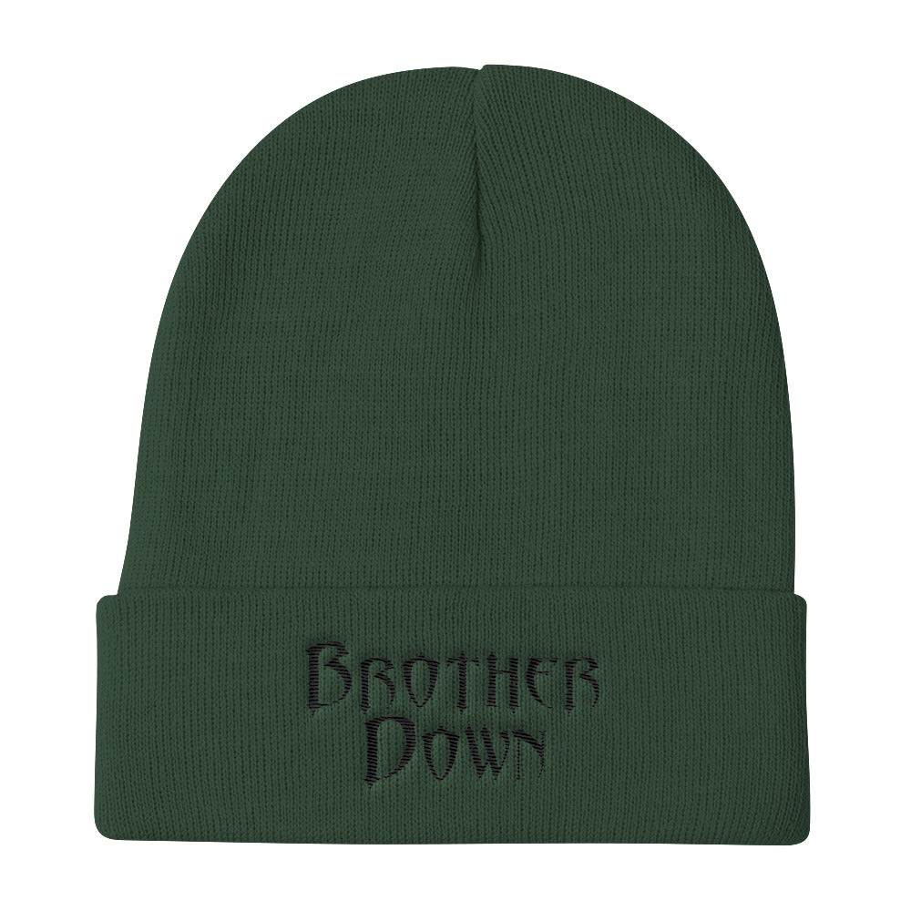 Brother Down Knit Beanie  - Black Embroidery