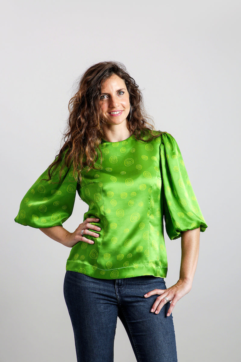 Spirals Balloon Sleeves Blouse