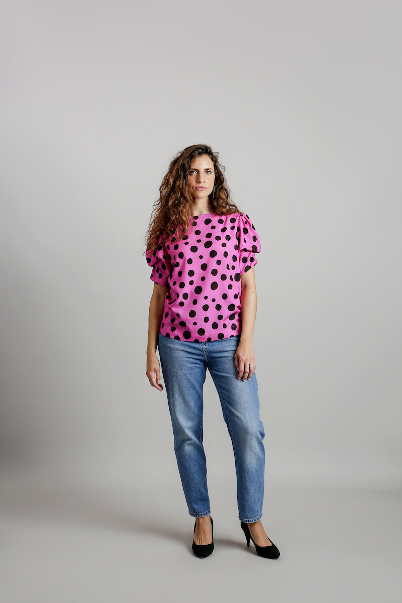 Polka Dots Structured Sleeves T-Shirt