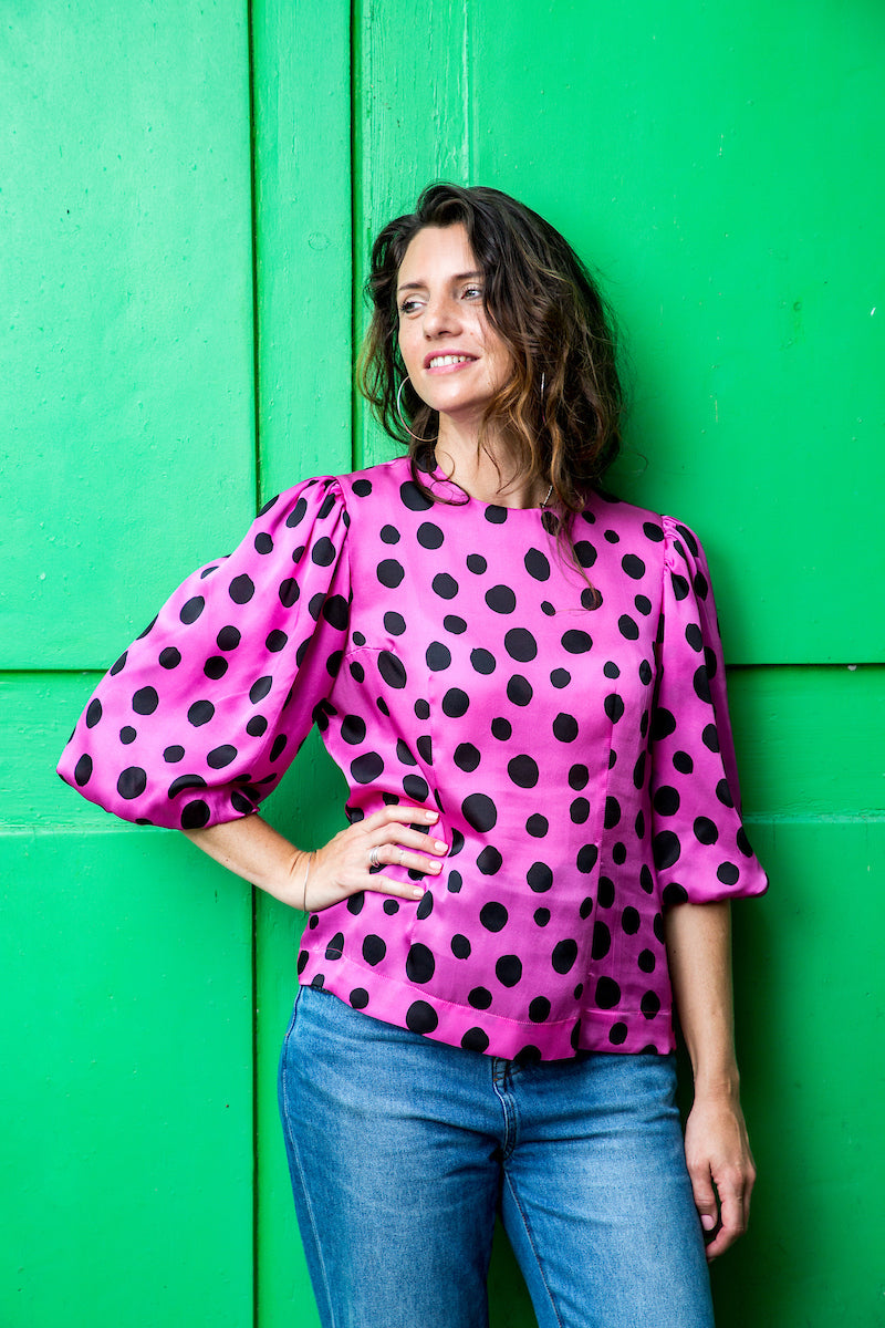 Polka Dots Balloon Sleeves Blouse