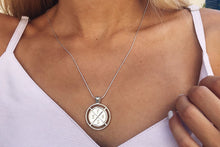 Coin necklace with engraving - silver