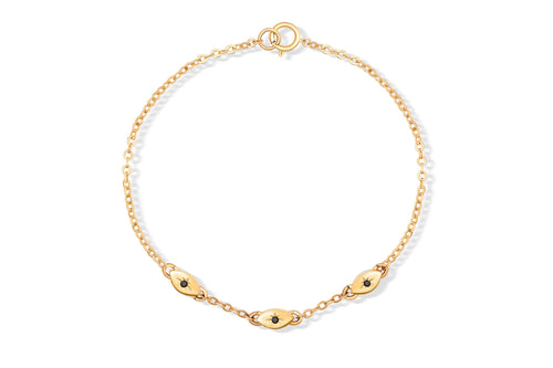 All Eyes On You Bracelet - Solid Gold with black diamonds