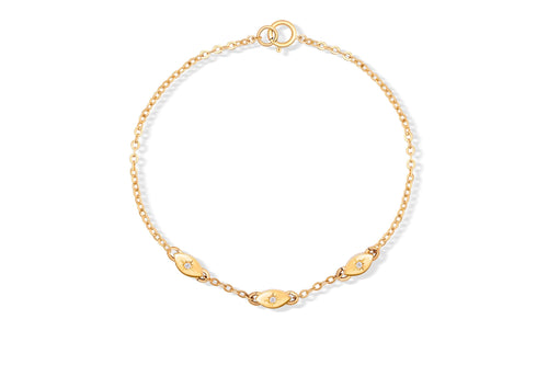 All Eyes On You Bracelet - Solid Gold with white diamonds