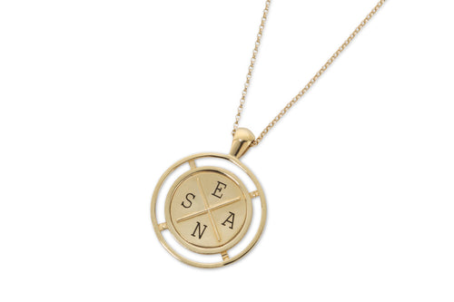 Coin necklace with engraving - gold plated