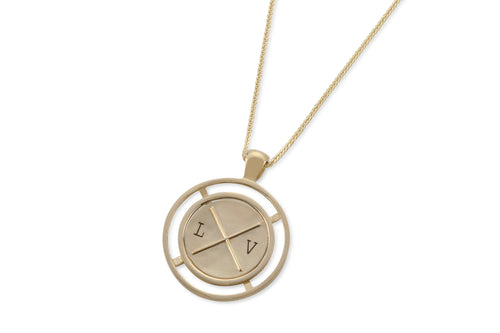 Coin necklace with engraving - solid gold