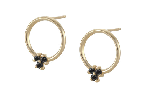 Circle of black diamonds Earring - Solid Gold