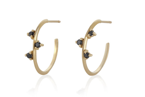 Black Diamonds Hoop Earring - Solid Gold