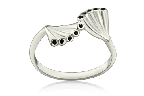 Double crown ring - Silver with black stones