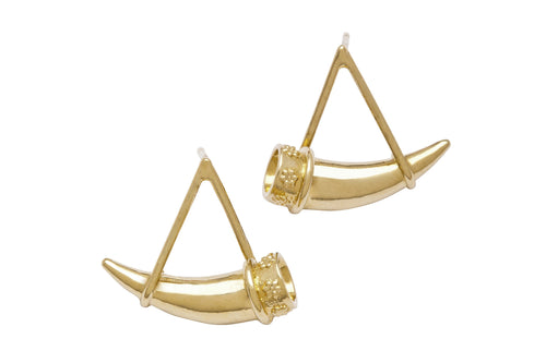 Hanging Horn Earrings - Gold Plated
